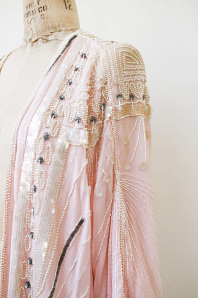 1980s Baby Pink Beaded Long Duster
