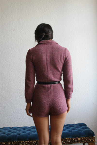 1960s Plum Ribbed Knit Jumper