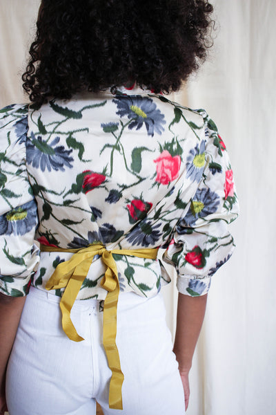 1950s Satin Floral Print Puff Sleeve Jacket
