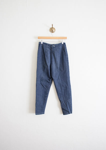 Dark Cotton Denim Crop Pants | 27