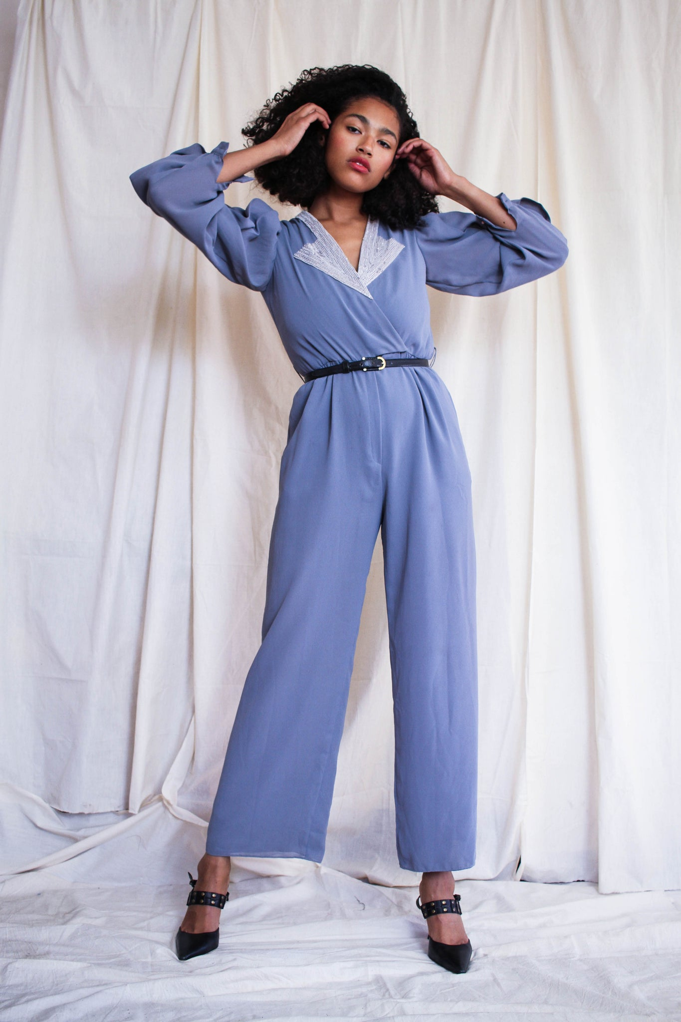 1980s Slate Grey Beaded Collar Jumpsuit