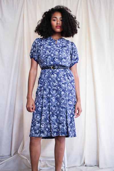 1940s Swirl Print Silk Cap Sleeve Dress