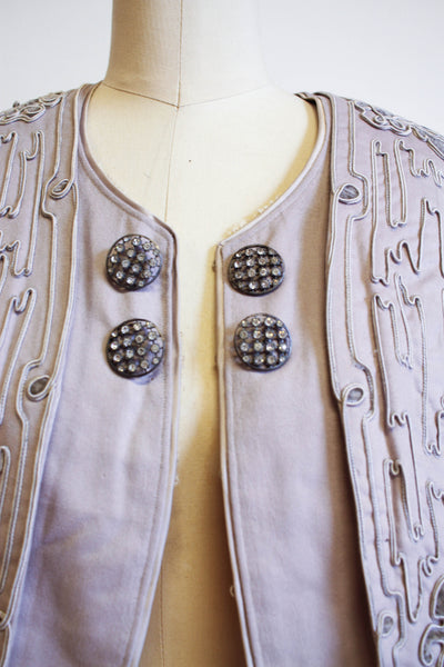 Victorian Rare Dove Grey Soutache Wool Jacket