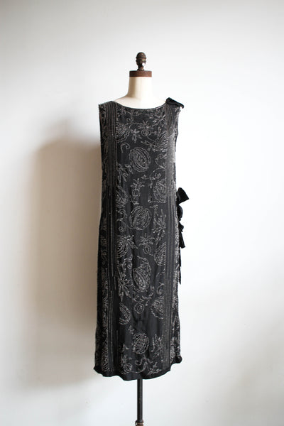 1920s French Hand-Beaded Silk Flapper Dress