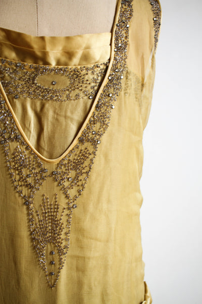 1920s Rare Mustard Chiffon Beaded Flapper Dress