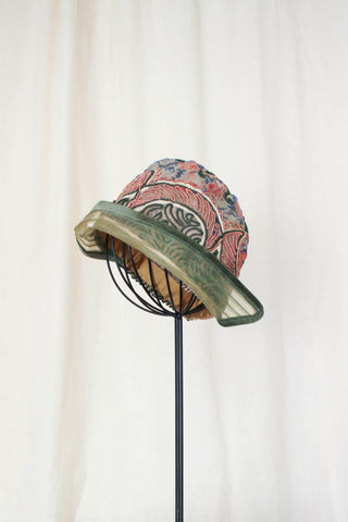 1920s Rare Pink & Green Bullion Silk Cloche Hat