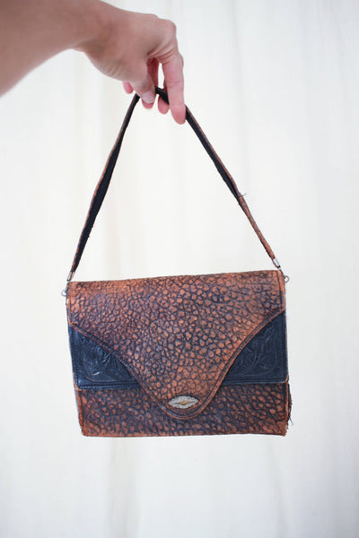 Antique Textured Leather Layered Handbag