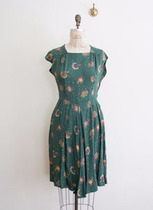 Pine Green Floral Paisley Silk Dress