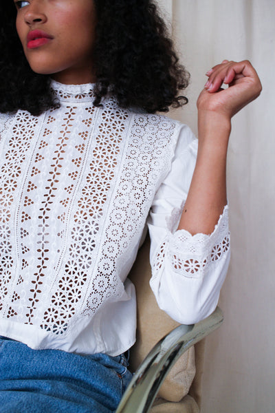 Victorian Cotton Doily Paneled Blouse