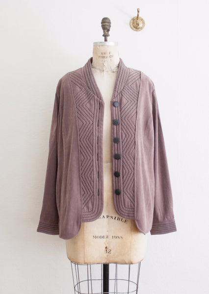 Bob Mackie Plum Chevron Stitch Jacket