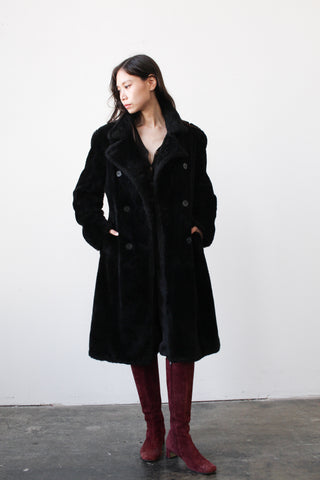 1990s DKNY Black Faux Fur Teddy Coat