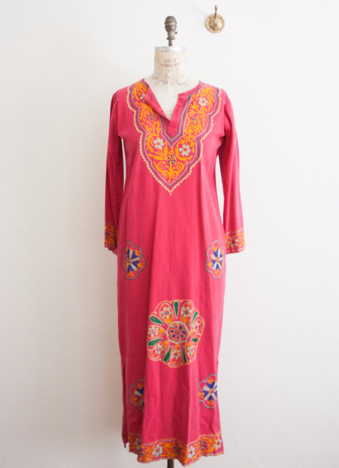Fuchsia Cotton Embroidered Maxi Dress