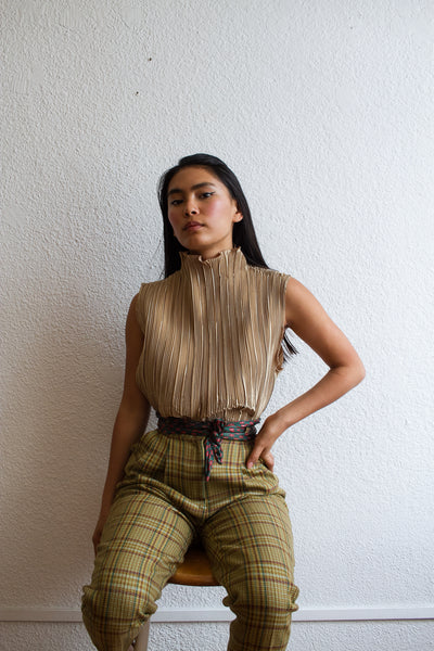 1980s Gold Vertical Micro-Pleated Blouse