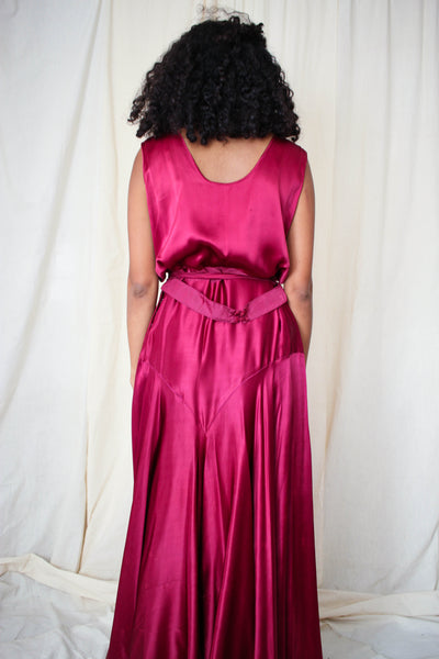 1930s Rare Deep Plum Satin Beach Pajamas
