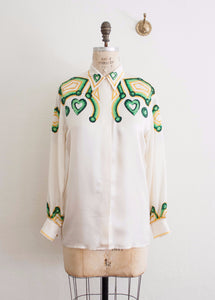 Escada Cream Silk Print Blouse
