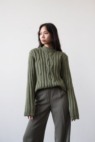 1990s Moss Green Cable Knit Sweater
