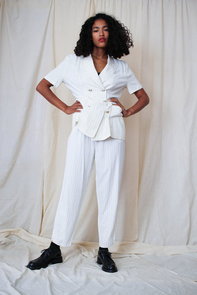 1990s White Striped Rayon Suit
