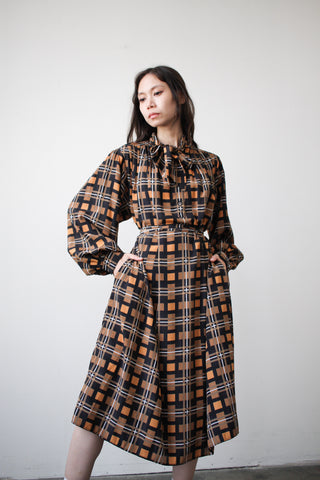 1980s Navy Windowpane Plaid Shift Dress