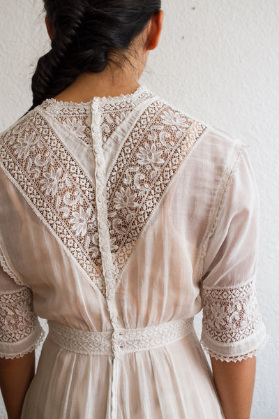 Edwardian White Cotton Lace Lawn Dress