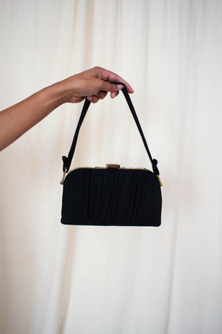 1940s Black Velvet Draped Brass Purse