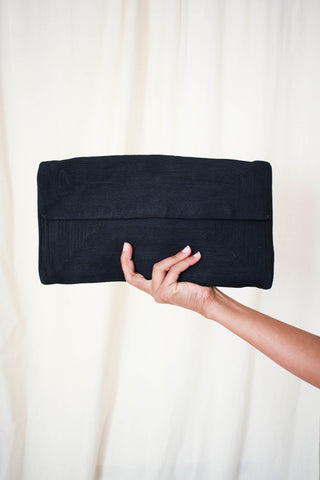 1940s Woven Black Envelope Clutch