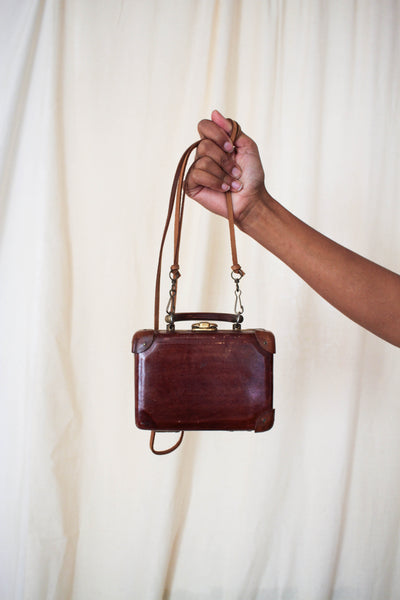 1930s Leather Mini Luggage Box Crossbody Purse