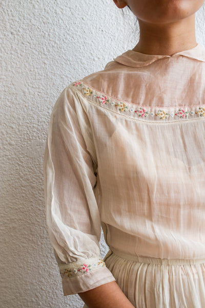 1930s Cross-stitched Voile Cotton Blush Dress