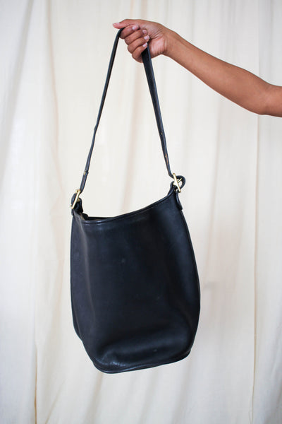 1980s Coach Black Leather Bucket Bag