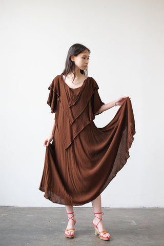 1970s Moroccan Brown Layered Dress