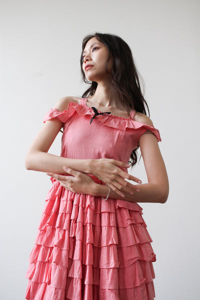 1920s Pink Tiered Ruffled Cotton Dress