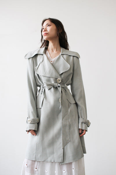 1980s Mint Houndstooth Trench Coat