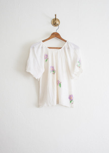 Gauzy Flutter Sleeve Embroidered Blouse