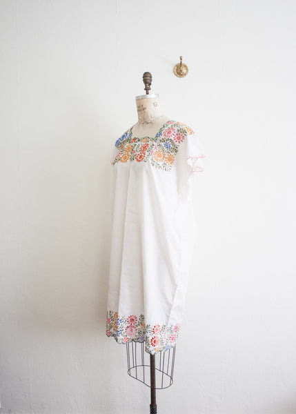 Floral Applique White Mumu Dress