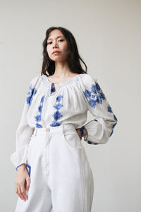 1940s Romanian Embroidered Peasant Blouse