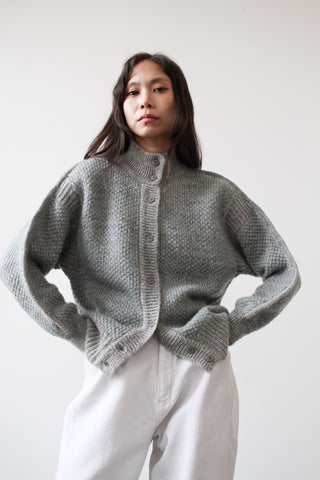 1980s Mint Mohair Curved Knit Sweater