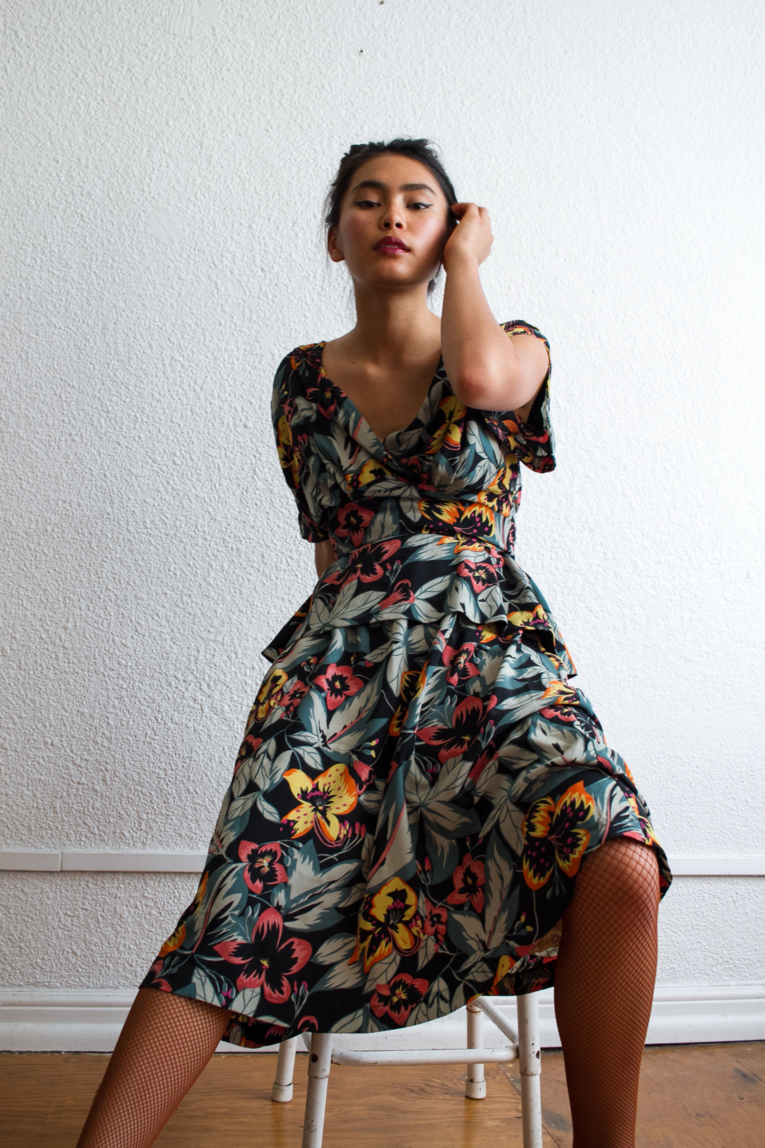 1980s Rayon Crepe Floral Peplum Dress