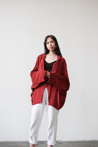 1980s Rayon Brick Red Slouch Jacket