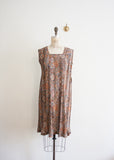 Copper Floral Pleated Dress