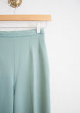 Mint Polyester High Waist Trousers