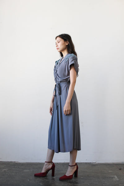 1940s Periwrinkle Crepe Rouched Dress