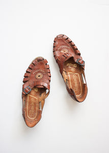 Brown Embroidered Buckle Sandals | Size 6.5