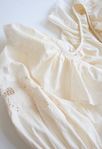Cream Embroidered Bell Sleeve Dress