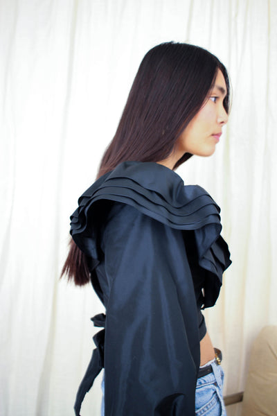 1980s Black Taffeta Ruffled Blouse