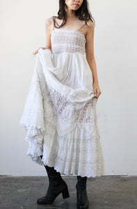 Edwardian White Cotton Mixed Lace Tiered Skirt