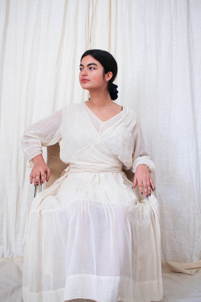 Edwardian Ecru Sheer Ethereal Layered Wrap Dress