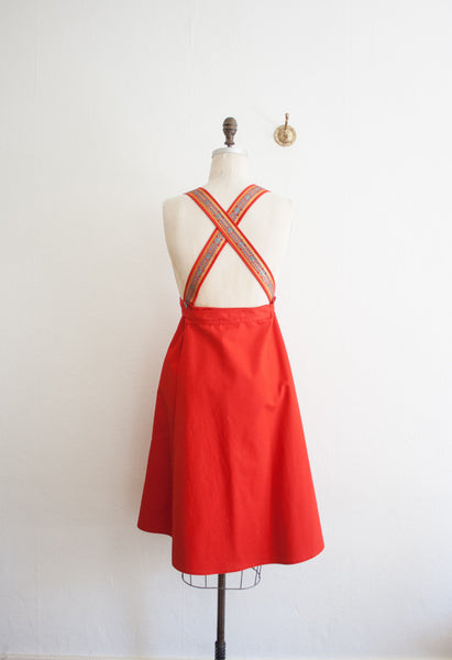 Cherry Red Gold Trim Pinafore