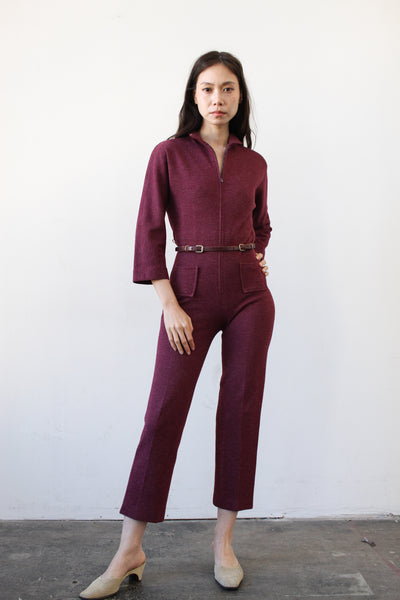 1960s Plum Wool Fitted Jumpsuit