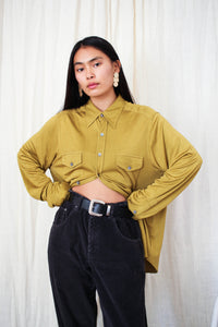 1990s DKNY Chartreuse Slinky Long Sleeve Button Up