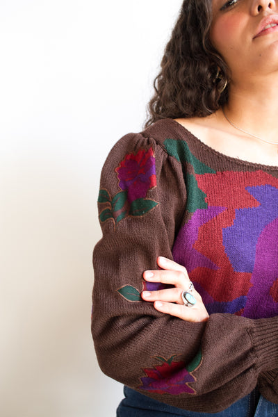 1970s Abstract Floral Woven Knit Sweater