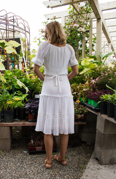 Gauzy White Lace Trim Dress
